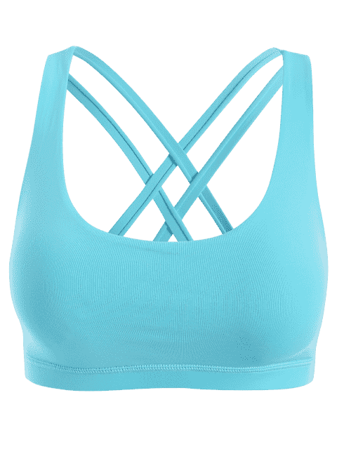 lady Strappy Crossover Sports Bra - BLUE L Mobile