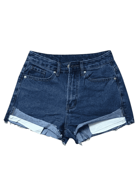 affordable Cutoffs Denim Shorts - DEEP BLUE L Mobile
