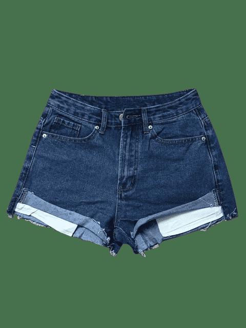 Shorts en denim déchiré - Bleu Foncé L Mobile