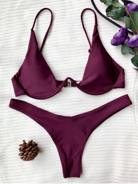 latest Push Up Plunge Bathing Suit - MERLOT L Mobile