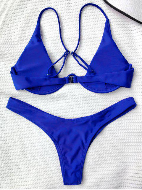 trendy Push Up Plunge Bathing Suit - BLUE S Mobile