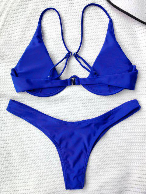 Maillot de Bain Plongeant - Bleu L Mobile