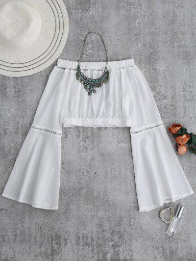 Off Shoulder Flare Sleeve Crop Top - White S