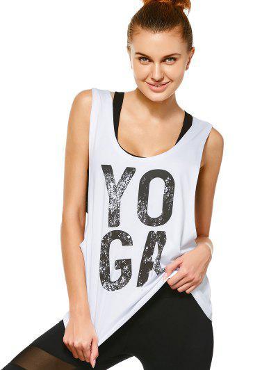 Yoga Dropped Armhole Sports Tank Top - White M