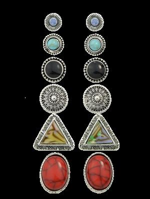 assortiment de Boucles d'oreilles circulaires en strass en faux turquoises