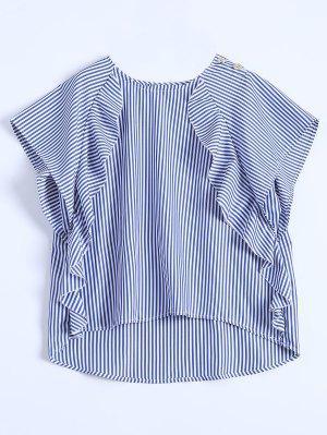 Dip Hem Ruffle Striped Blouse - Blue M