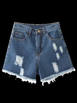 Shorts En Denim Déchiré - Bleu Foncé 27