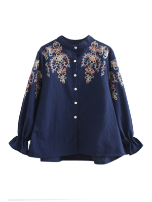 Bordado Alargamento Camisa De Manga - Azul Arroxeado M