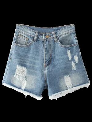 Cutoffs Distressed Denim Shorts - Light Blue 25
