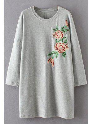 Bordado Floral De Manga Larga Vestido Casual - Gris M