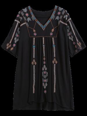 Robe Ethnique Brodé Shift - Noir