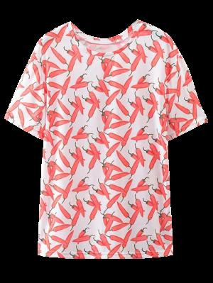 De Gran Tamaño Chile Camiseta Con Estampado - Rojo L