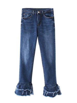 Cutoffs En Capas De La Llamarada De Los Pantalones Vaqueros - Denim Blue Xl