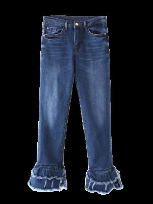 Cutoffs En Capas De La Llamarada De Los Pantalones Vaqueros - Denim Blue S