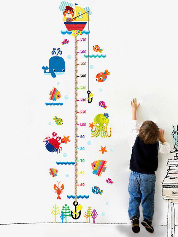 Cartoon Cat Fishing Height Sticker For Kids Room 211150401