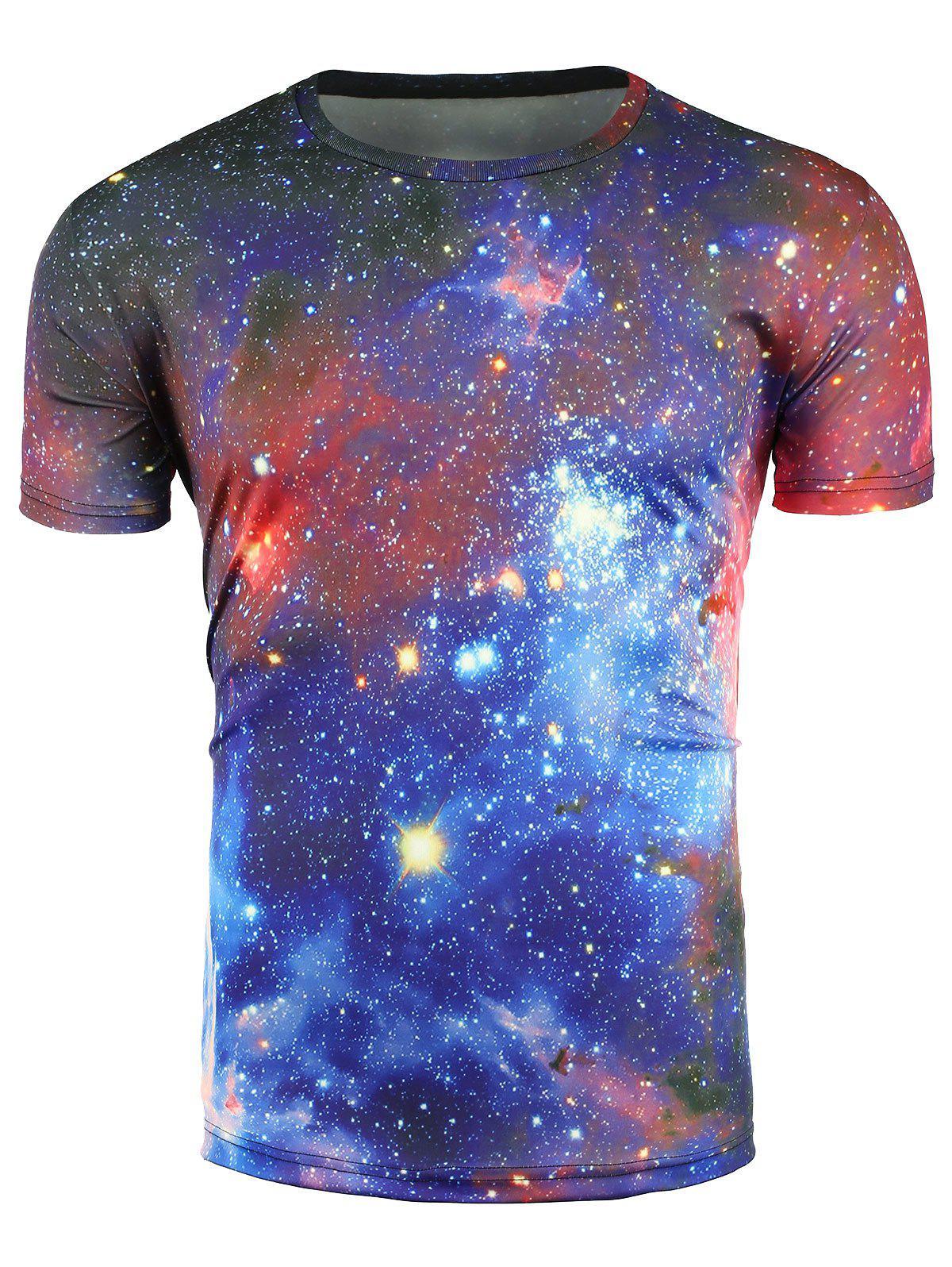 Couleur 3D Galaxy bloc à manches courtes T-shirt