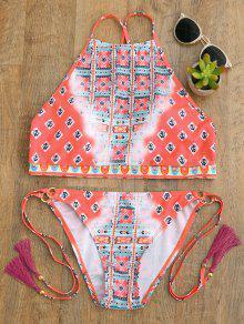High Neck Tassels Tie Side Bikini - Peach Red S