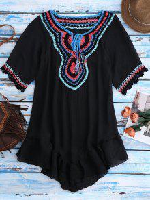 Crochet Bib Beach Cover-Up For Swimwear - Black