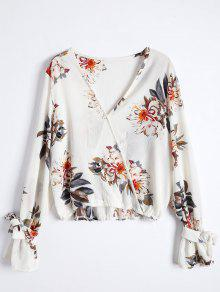 Floral Flare Sleeve Surplice Blouse - S