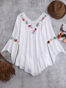 Bell Sleeve Crochet Flower Beach Cover-Up - White
