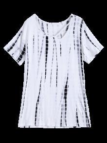 Tie Dye Cut Out Neck T-Shirt - White