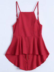 Slip Low Back Peplum Top - Red S