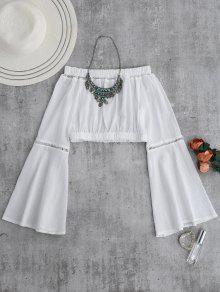 Hombro Camisa Corta De La Manga De La Llamarada - Blanco M