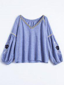 Embroidered Puff Sleeve Top - Blue M
