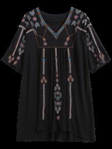 Ethnic Embroidered Shift Dress - Black