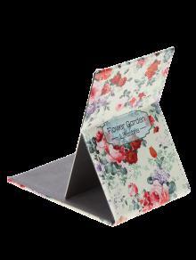 الفولاذ المقاوم للصدأ مستطيلة الأزهار المطبوعة مرآة مستحضرات التجميل - متعدد الألوان