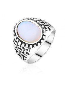 خاتم كلاسيكي أوبال اصطناعي - فضة 8