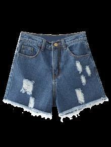 Cutoffs Distressed Denim Shorts - Deep Blue 28