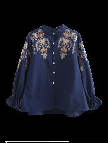 Embroidered Flare Sleeve Shirt - Purplish Blue M