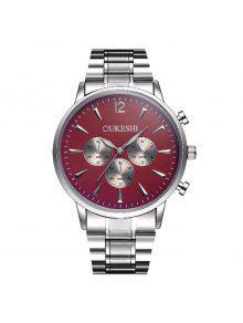 ساعة بشريط معدني OUKESHI - أحمر