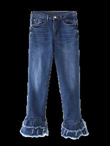 Cutoffs Layered Flare Jeans - Denim Blue S