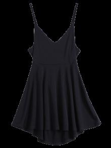 Backless Lace Up Skater Dress - Black S