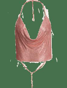 Draped Metal Crop Top For Party - Rose Gold M