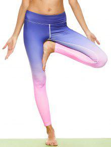 Ombre Stirrup Yoga Leggings - Gradual Pink L