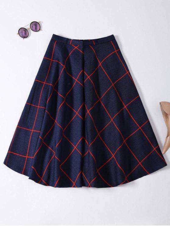 online A Line Midi Plaid Skirt - PURPLISH BLUE M