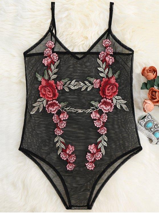 women Floral Patch Sheer Mesh Bodysuit - BLACK XL