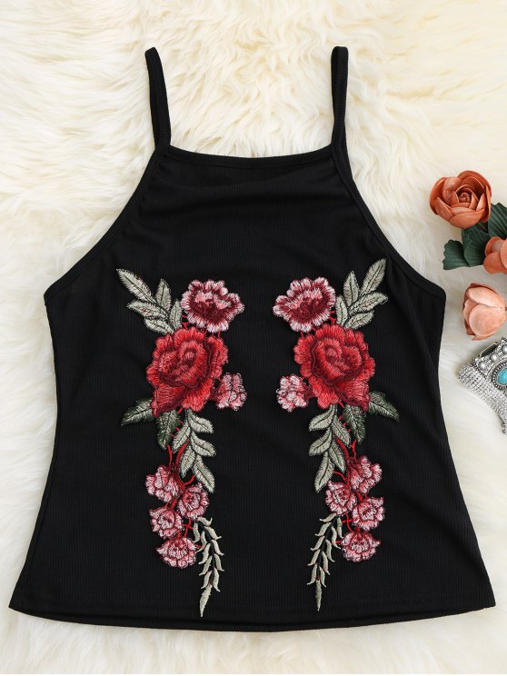 outfit Floral Patch Ribbed Tank Top - BLACK M