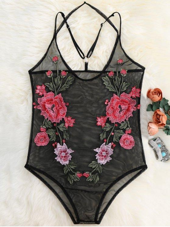 Body en maille transparent avec broderie florale - Noir XL