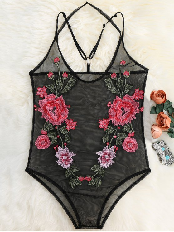 De malla transparente floral apliques Body - Negro L