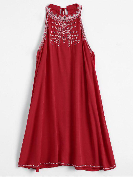 shop Embroidered Sleeveless Flowing Dress - RED M