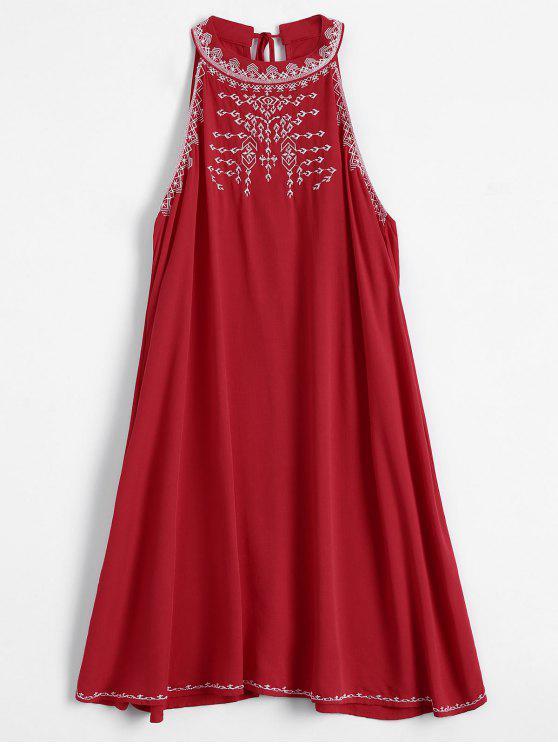 Vestido Fluido con Bordado sin Manga - Rojo S