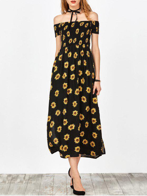 c548b764da5d 24% OFF  2019 Sunflower Print Off Shoulder Smocked Slit Dress In ...