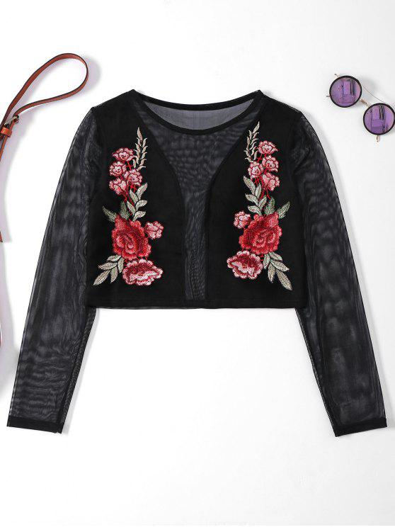 4201ec23092a16 30% OFF  2019 Sheer Mesh Floral Embroidered Crop Top In BLACK