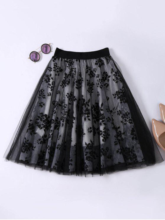 affordable Layered Floral Tulle Skirt - BLACK ONE SIZE