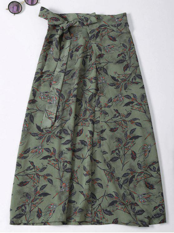 buy Flower Print High Slit Wrap Skirt - ARMY GREEN ONE SIZE