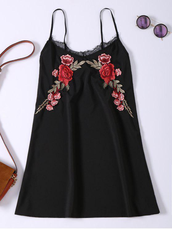 ladies Slip Lace Embroidered Rose Applique Dress - BLACK M